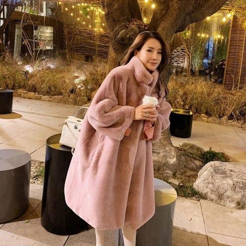 Winter New Plush Coat Imitation Fur Mink Long Coat High Collar Knee Thickened Loose Cardigan Coat Women