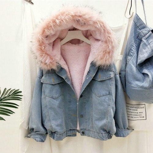 2021 New Fashion Women Denim Jacket Autumn Winter Plush Warm Fluffy Fur Collar Hooded Bomber Jeans Jackets Women's Coat MY1912