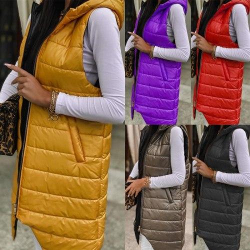 Women Sleeveless Women's Light Vests Pure Color Slim Jacket Girl Gilet Lightweight Windproof Warm Zipper Waistcoat