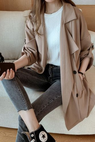 2021 fashion Women Windbreaker Spring Autumn Ciassic Trench Coat Casual Thin Female Overcoat Long Slim Outwear Gabardina Mujer