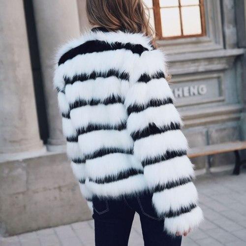 2021 Fashion Black White Striped Faux Fur Coat Autumn Winter Long Sleeved Jacket Women's O-Neck Warm Coats Plus Size Ladies Coat