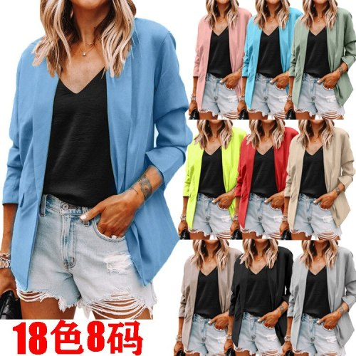 Women Fashion Long Sleeve Cardigan Casual Suit pocket Jacket Spring Female Top Autumn Professional Wear Korean Coat S-5XL