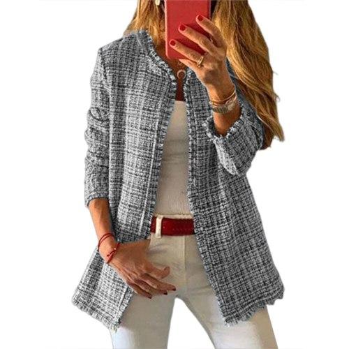 2021 Sweet Women Autumn Winter Outerwear Plaid Open Front Wool Cardigan Jacket Coat Women's Sweaters Winter Fashionable Coat