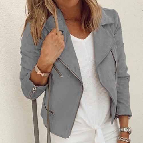 2022 Spring Autumn Solid Long Sleeve Top Outwear Fashion Zipper Design Short Jacket Women Elegant Lapel Collar Office Lady Coats