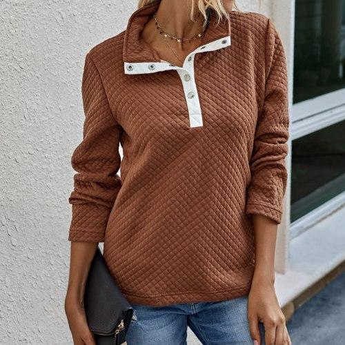 Elegant Women Long Sleeve Turn Down Collar Buttons Pullover Sweatshirt Waffle Blouse Plus Size Outwear Streetwear Blusa