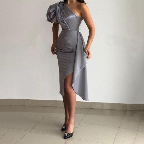 Women Sexy One Shoulder Party Dress Puff Sleeve Ruffled Slim Fit Club Bodycon Slit Dress
