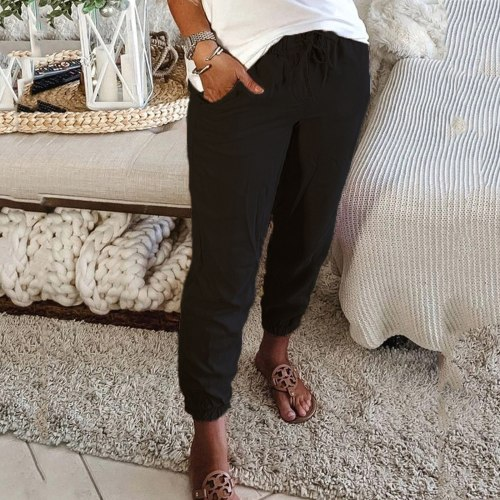 2021 Casual Baggy Harem Pants  Fashion Women Loose Pocketed Solid Colour Drawstring Home Sports Casual Trousers