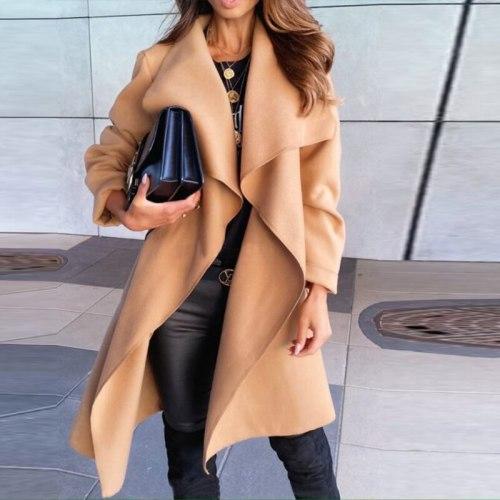 2021 Fashion High Street Long Sleeve Cardigan Woolen Coat Women Casual Lapel Jacket Autumn New Lace-Up Belt Office Lady Overcoat