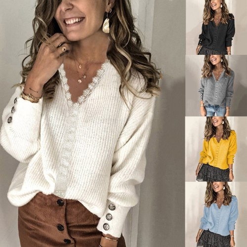 Female Lace Stitching Tops Autumn Winter Women V-neck Buttoned Decorated Long-sleeved Loose Top Ladies Vintage Causal Clothing
