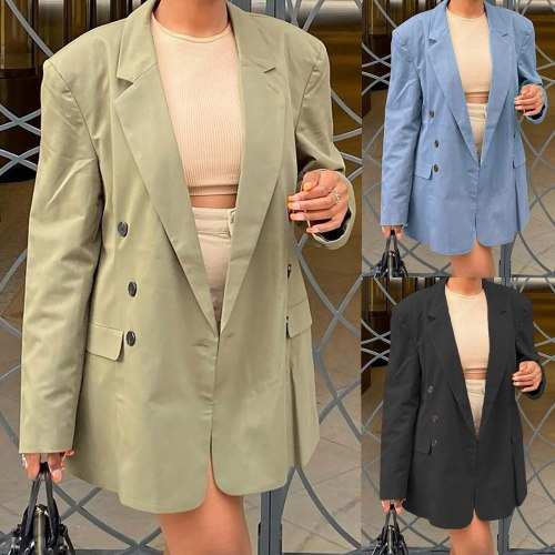 Women's Fashion Office Tailored Coat Autumn Female Suit Coat Casual Open Front Cardigan Long Sleeve Buttons Work Office Jackets