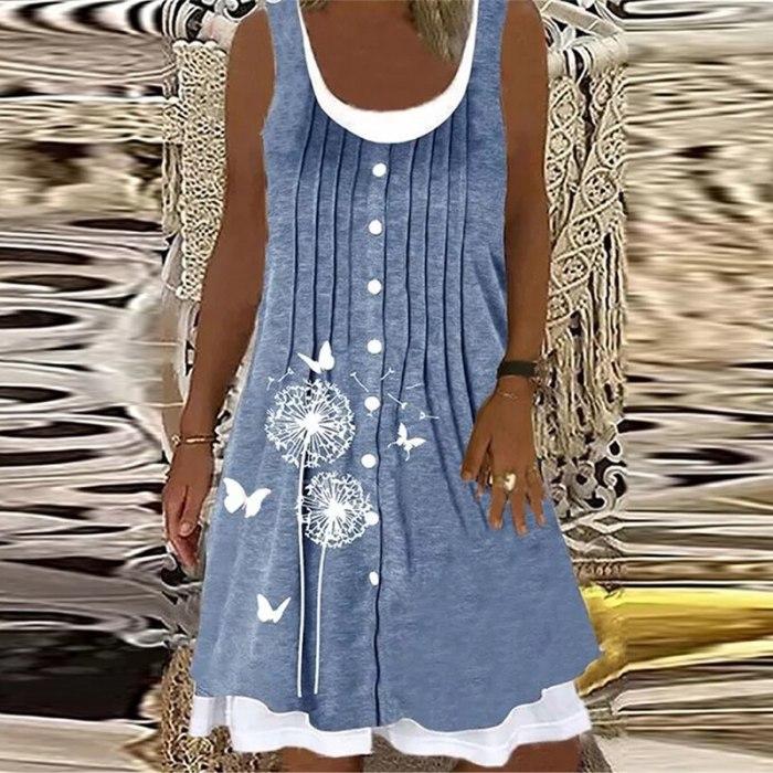 Women Summer Casual Sleeveless Loose Party Dress 2021 Fashion Elegant O-Neck Tank Dress 3XL Vintage Floral Printed Dress Vestido