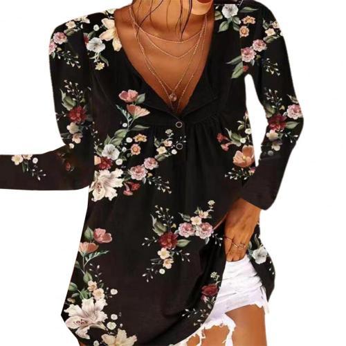 Fall  Women Deep V Neck Tops Long Sleeve Casual Beach Flower Print Loose Shirt Female Hollow Out Oversized 4XL Blouse Streetwear