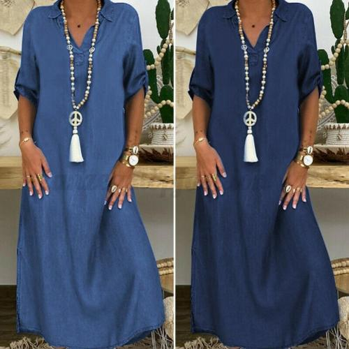 Summer Long Dresses Women Half Sleeve Denim V-neck Loose Maxi Dress Streetwear Sexy Button Split Casual Loose Party Denim Dress