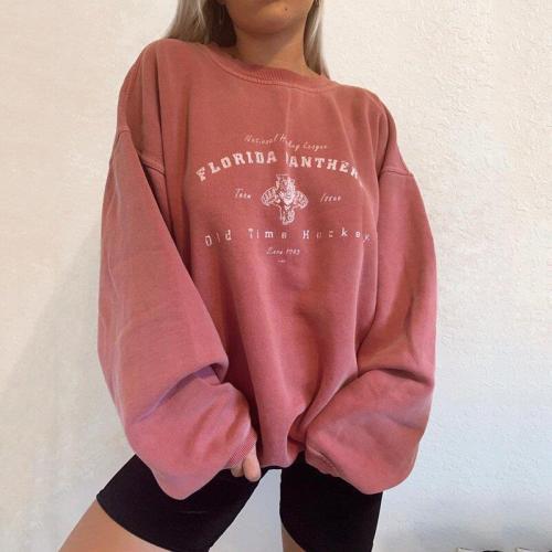Pink Tops Letter Printing Oversized Crewneck Sweatshirt Women Loose Vintage Harajuku Cute Long Sleeve Fashion Clothes for Teens