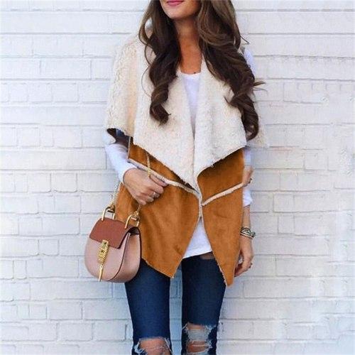 Autumn Winter Ladies Elegant Loose Streetwear Coat Women Deerskin Stitching Vest Fahsion Casual Jacket Vests Cardigan Clothing