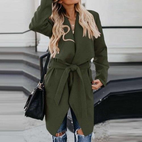 Women Lapel Solid Color Wool Casual Jacket Fall Winter Elegant Lace-Up Belt Long Sleeve Coat Casual Slim Office Lady Overcoat
