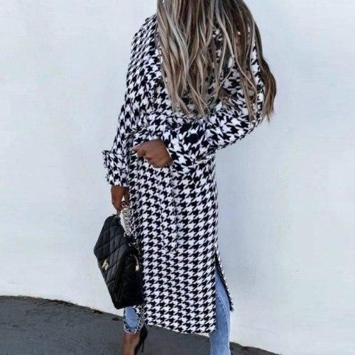 Elegant Lapel Office Lady Retro Jacket Outwear Women Long Sleeve Houndstooth Overcoat Winter Casual Loose Belted Coat Streetwear