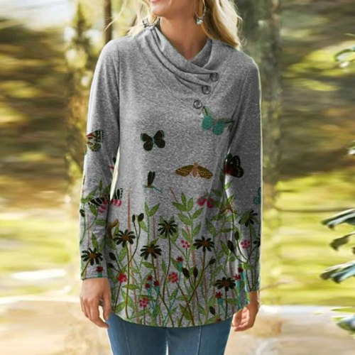 Autumn Fashion Women Long Sleeve O-Neck Button Tops Casual Loose Ladies Pullover Blouse Plus Size 5XL T-Shirts Femme Streetwear