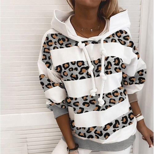 Women Fashion Dot Print Leopard Patchwork Hoodies Autumn Winter Casual Long Sleeve Tops Hooded Drawstring Design Loose Pullovers