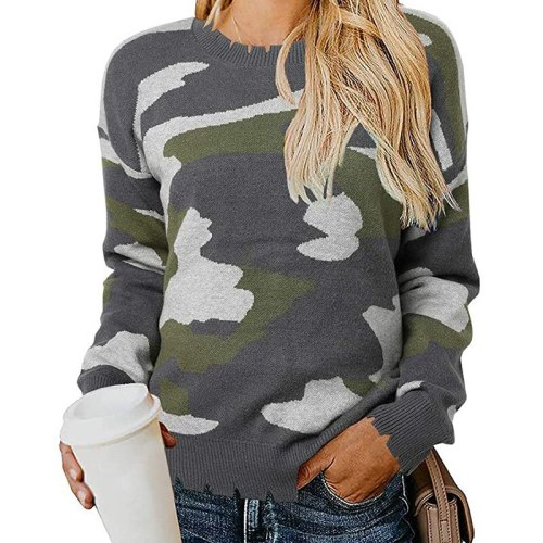 2021 New Women Sweaters Ins Fashion Women O-neck Camouflage Sweater