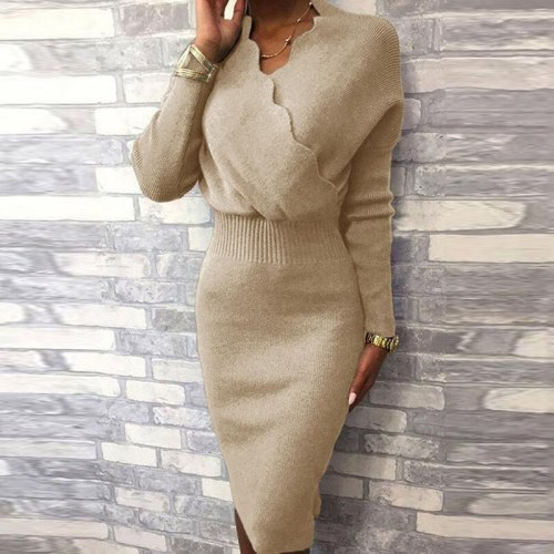 Elegant Office Lady Bodycon Knitted Dress Women Sexy Wave V-Neck Solid Party Dress Autumn Winter Long Sleeve Slim Fit Knee Dress