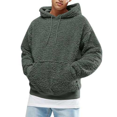 Casual Solid Drawstring Long Sleeve Hooded Tops Men Autumn Winter Streetwear Fashion Plush And Fleece Pullover Hoodies For Men