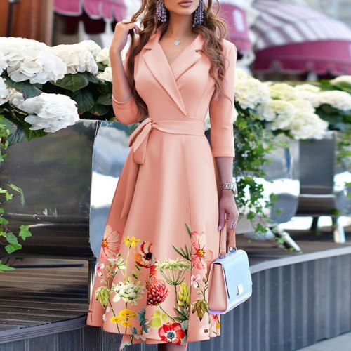 Sexy Deep V Neck Solid Party Dress Elegant Button Slim Waist A-Line Dress Autumn Office Lady Long Sleeve Pleated Fashion Dresses