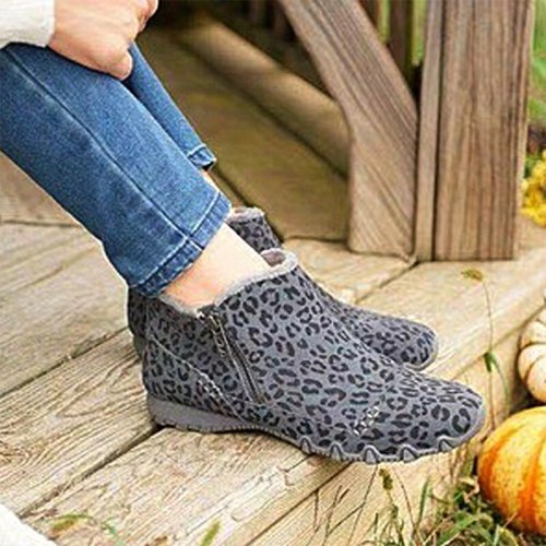 Women Zip Winter Solid Snow Boots Ladies Warm Flat Fur Suede Ankle Boot 2021 New Fashion Casual Non-Slip Plush Shoes Footwear