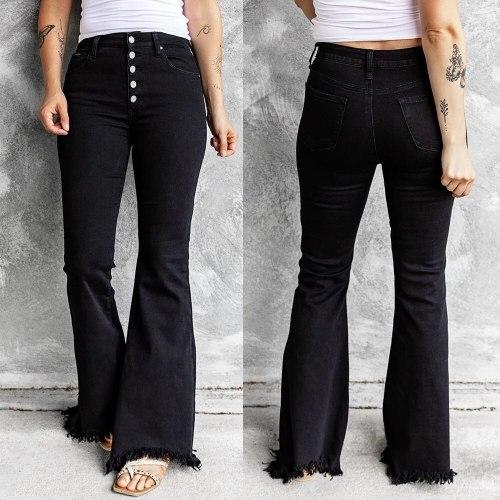 Women's Pants y2k Flare Pants Women's Jeans Mom Black Fur-lined Jeans Stretch Button Jeans Streetwear Denim Trousers Black Jeans