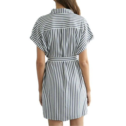 Womens Short Sleeve Lace Up Shirt-Dress Ladies Loose Casual Summer Dresses Office Lady Vestidos Elegant Stand Collar
