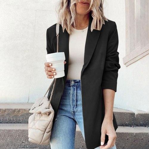 Women's Suit Jacket 2021 Autumn And Winter Long-sleeved Solid Color Fashion Cardigan Top Slim No Deduction Women's Suit Jacket