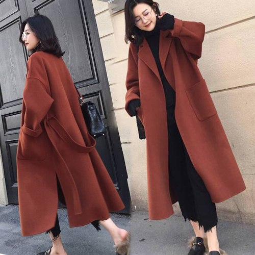 New Winter Thicken Warm Wollen x-Long Coat Women Fashion Loose Solid Color Belt Closed Pockets Woman Coats L028