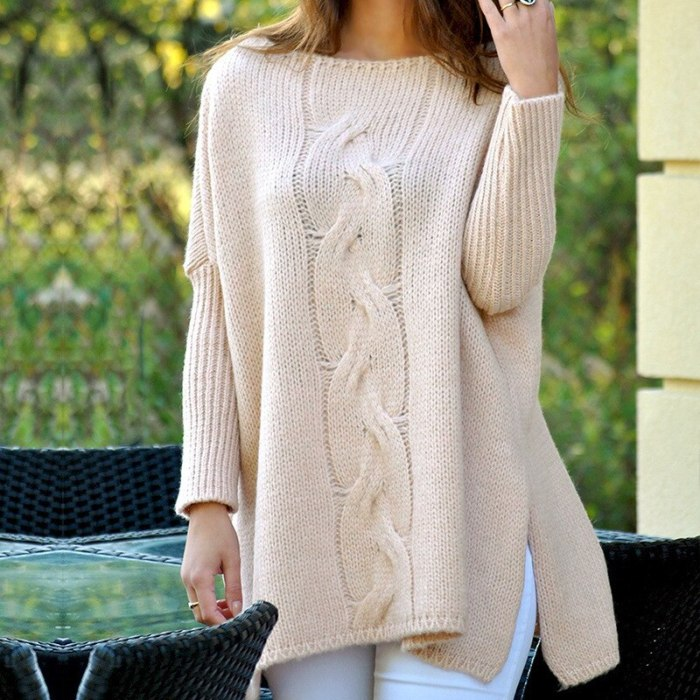 Knitted Sweaters For Woman 2021 New O Neck Loose Long Sleeve Solid Hem Split Plus Size Twist Casual