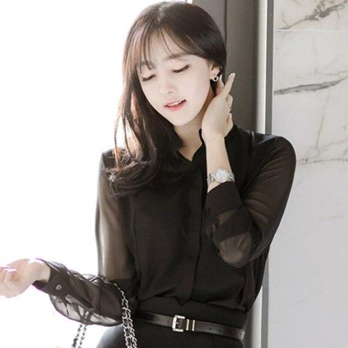 2021 Spring Women Chiffon Blouses & Tops Feminina Blusas Long Sleeve Shirt Lady Sexy Black Tops Shirt