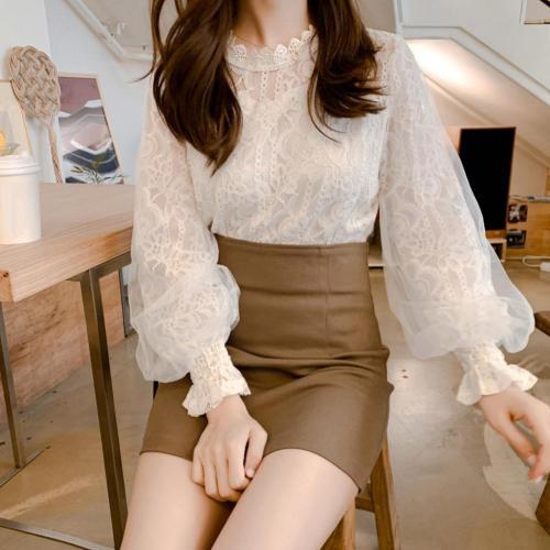 Elegant Women Blouses Floral Lace Brim Hollow Out Puff Long Sleeve Blouses Shirts Women Blouse Shirt Blusas Feminina Tops White