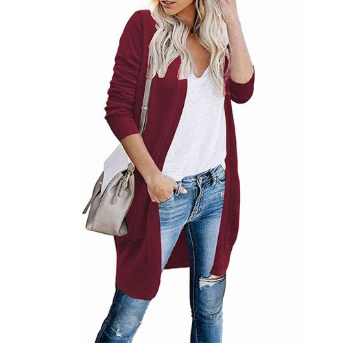 Autumn and winter new solid color sweater women's long sleeved cardigan coat