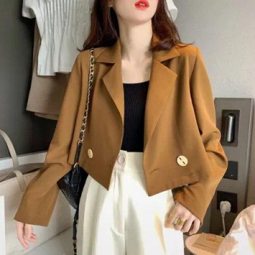 2021 Women Sweet Breasted Notched Collar Pink Tweed Woolen Short Blazer Coat Vintage Female Outerwear Chic Tops Size M-4XL
