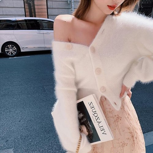 Simple  New Korean Long Sleeve Knitted Cardigan For Women's Solid Color V-Neck Loose Buttons Knitted Sweater Cardigan