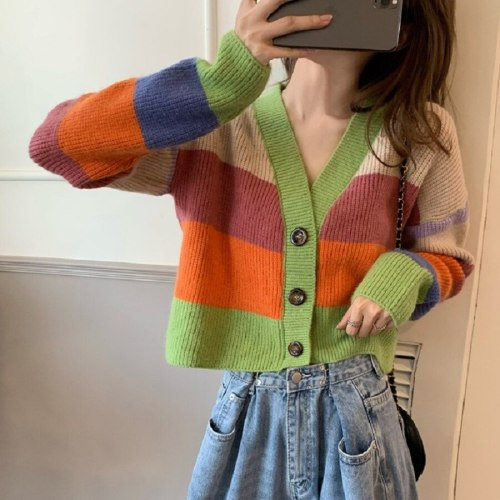 Color Striped Sweater Autumn and Winter New Women's Jacket Small Fragrance Rainbow Contrast Color Knitted Cardigan Women's Top