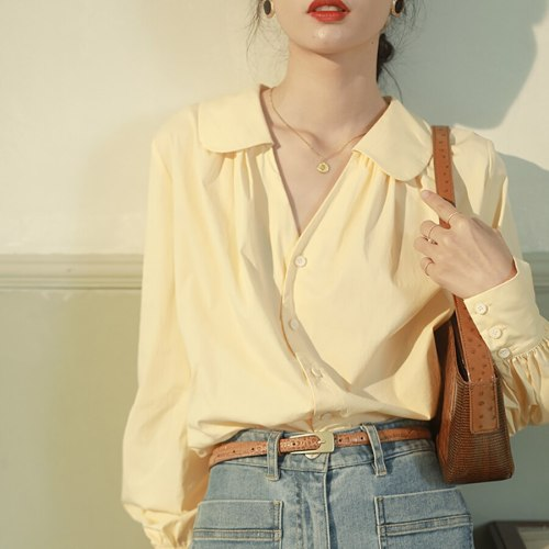 Blouses Women Solid Sweet Design Single Breasted Peter Pan Collar Retro French Style Elegant Folds Long Puff Sleeve Shirts Mujer