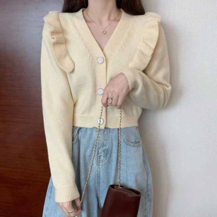 Cardigan Women V-neck Pure Color Stylish Female Mujer De Moda Casual Button Korean Style Spring Long Sleeve All Match Chic Crop