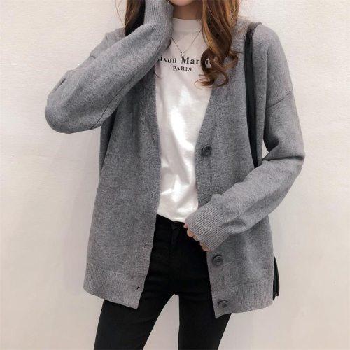 Fashion 2021 Spring And Autumn Korean Sweater Women Cardigan New Women's Fashion Slim V-Neck Long Sleeve Sweater Large Size Coat