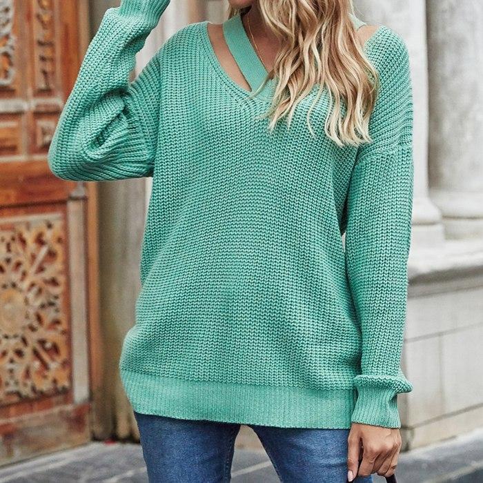 2021 Women Autumn Winter Hollow Out Sweater Loose V Neck Long Sleeve Knitwear Jumper- Rose Red Green Fashion Female Streetwear