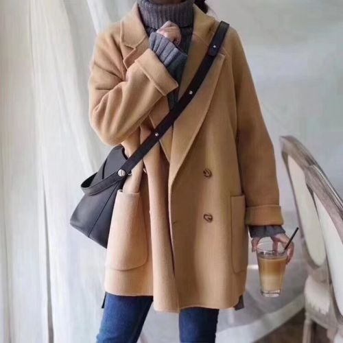 Women Wool Coats Solid Fashion Warm Loose Casual All-match Ulzzang Retro Simple Female Office Lady Double Breasted Blends Jacket