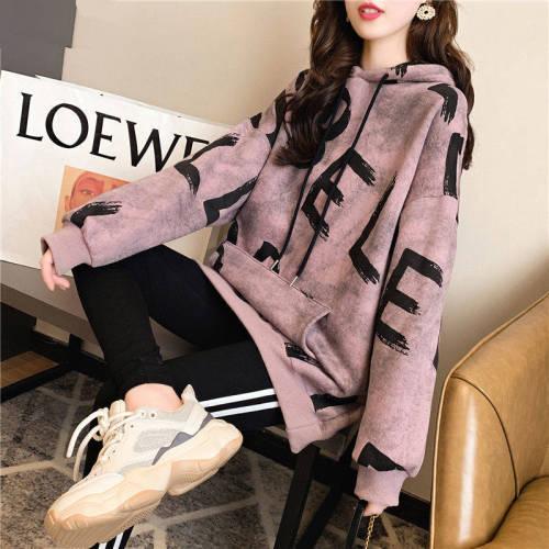 Kpop New Hip-hop Hoodies Sweatshirt Women Autumn Winter Plus Velvet Thicken Kawaii Oversized Hooded Tops Womens Trend Streetwear