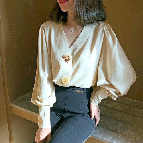 2021 New Shirt Women Long-Sleeved Korean Loose Retro Casual V-Neck Shirt Fashion Tops Blouse Autumn Clothes Ladies