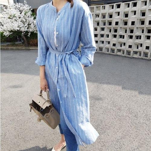 Vertical Stripes Women Dresses O-neck Daily Casual Vintage Cotton Linen Long Sleeve Dress 2021 Beach Sundress Bohemian Vestidos
