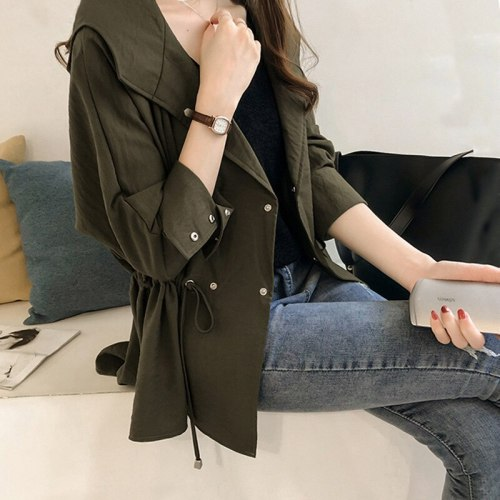 Women Clothes 2021 New Loose Hooded Windbreaker Spring And Autumn Mid-Length Slim Long Sleeve Cardigan Solid Color Size Jacket