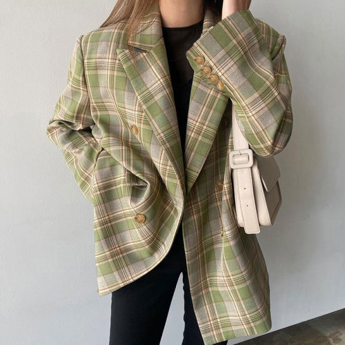 Women Spring Double Breasted Check Blazer Vintage Female Pockets Plaid Suits Jacket Casual Street Outwears