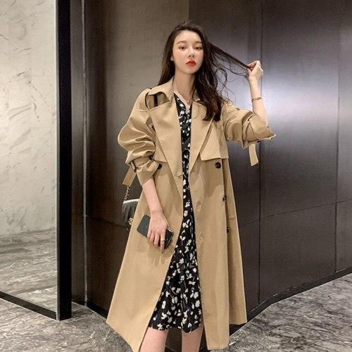 Woolen Coat Women's Casual British Windbreaker Hepburn Long Jacket 2021 Fashion Loose Temperament Windbreaker Jacket for Women